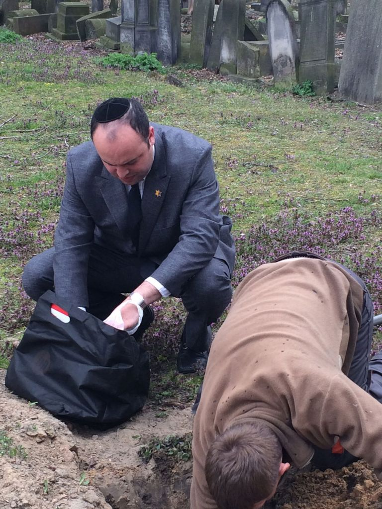 Jewish remains taken for reburial in Warsaw by head of From the Depths Jonny Daniels. (courtesy)