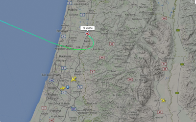 El Al flight from Rhodes to Tel Aviv calls off landing at Ben-Gurion on Monday evening sirens wail near the airport. (screen capture: FlightRadar24)