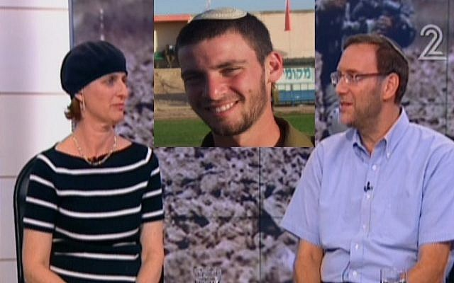 Susan and Simcha and their son Eitan, in Channel 2's studio on Monday August 4, 2014. (Screen capture illustration: Channel 2)