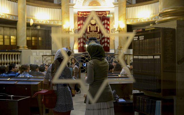 In Vienna last week, Muslim-Jewish Conference participants visited the Central Synagogue, the city's only Jewish house of worship not destroyed during the war (photo credit: Daniel Shaked)
