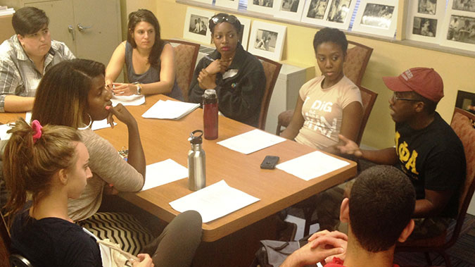 Cultural Leadership alumni gathered on August 19 to discuss ways to facilitate productive conversations about the Michael Brown shooting. (JTA)