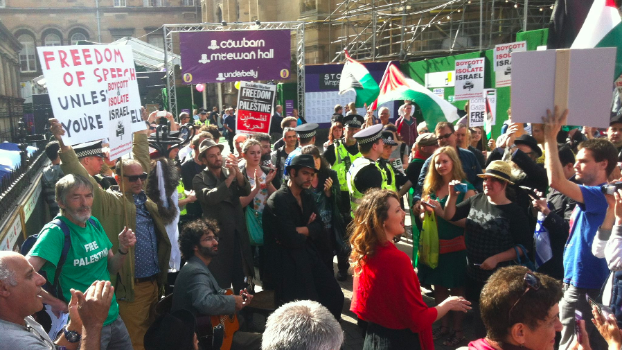Members of the Victor Jackson Show performing silently in Edinburgh as part of their counter protest for free speech at the 2014 Festival Fringe (Courtesy Victor Jackson Show)