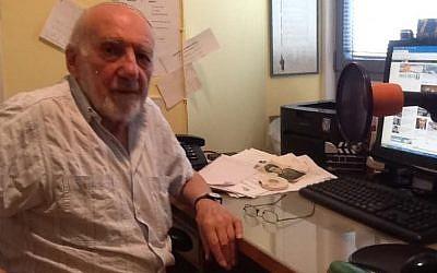 Walter Bingham, Israel's oldest active journalist (photo credit: Lazar Berman/ Times of Israel)