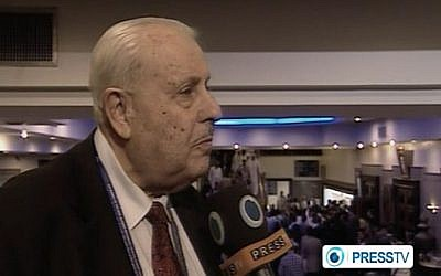 Screenshot of Palestinian ambassador to Iran, Salah Zawawi, giving an interview to Iran's Press TV.
