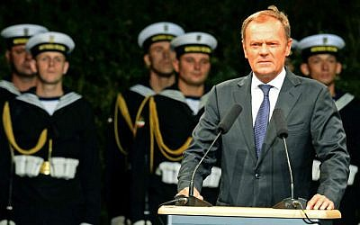 Then-Polish Prime Minister Donald Tusk delivers a speech at the Westerplatte monument during ceremony marking the 75th anniversary of the first day of World War II in Gdansk on September 1, 2014. (AFP/JANEK SKARZYNSKI)
