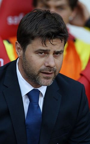 Tottenham Hotspur's Argentinian head coach Mauricio Pochettino looks on during the English Premier League football match between Sunderland and Tottenham Hotspur at the Stadium of Light in Sunderland on September 13, 2014. The match ended in a 2-2 draw. (photo credit:AFP/Lindsey Parnaby)