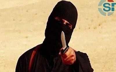 An image grab taken from a video released by the Islamic State (IS) shows a masked militant holding a knife and gesturing as he speaks to the camera in a desert landscape before a beheading. (AFP Photo/SITE Intelligence Group/HO)