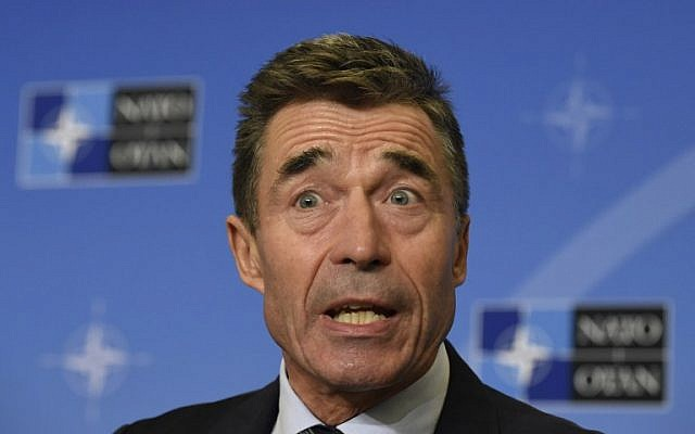 Secretary-General of The North Atlantic Treaty Organization Anders Fogh Rasmussen gives a press on September 1, 2014 in Brussels. (photo credit: AFP/John Thys)