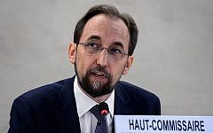 UN High Commissioner for Human Rights Zeid Ra'ad Al Hussein delivers a speech at the opening of the 27th session of the UN Human Rights Council on September 8, 2014 in Geneva. (AFP/Fabrice Coffrini)