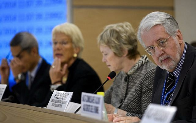 From left to right, United Nations Commission of Inquiry on Syria, Vitit Muntarbhorn, Carla del Ponte, Karen Abuzayd and Chairman Paulo Sergio Pinheiro are seen during their presentation of the commission's latest report on the situation in the war-ravaged country to the UN Human Rights Council on September 16, 2014 in Geneva. (photo credit: AFP/FABRICE COFFRINI)