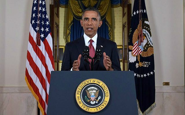 US President Barack Obama delivers a prime-time address from the Cross Hall of the White House on September 10, 2014. (photo credit: AFP/Saul Loeb, Pool)