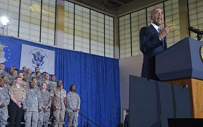 US President Barack Obama speaks during a visit to the US Central Command (CENTCOM) at MacDill Air Force Base in Tampa, Florida on September 17, 2014. (photo credit: AFP/Mandel NGAN)
