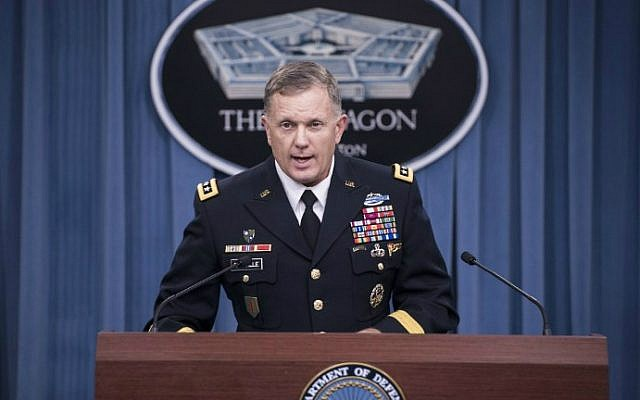 Lt. Gen. William C. Mayville Jr. speaks on the first US airstrikes in Syria during a briefing at the Pentagon, in Washington, DC, September 23, 2014. (photo credit: AFP/Brendan Smialowski)