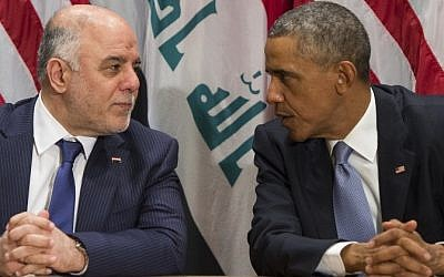 US President Barack Obama and Iraqi Prime Minister Haider al-Abadi meet during the United Nations General Assembly at the UN in New York, September 24, 2014. (AFP/Saul Loeb)