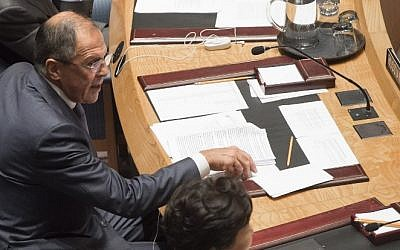 Russian Foreign Minister Sergey Lavrov attends a UN Security Council summit meeting on foreign terrorist fighters during the United Nations General Assembly at the UN in New York, September 24, 2014. (photo credit: AFP/Saul Loeb)