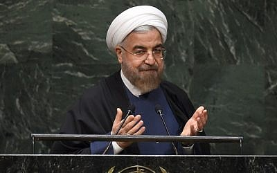 Iranian President Hassan Rouhani speaks during the 69th Session of the UN General Assembly September 25, 2014 in New York. (photo credit: AFP/Timothy A. Clary)