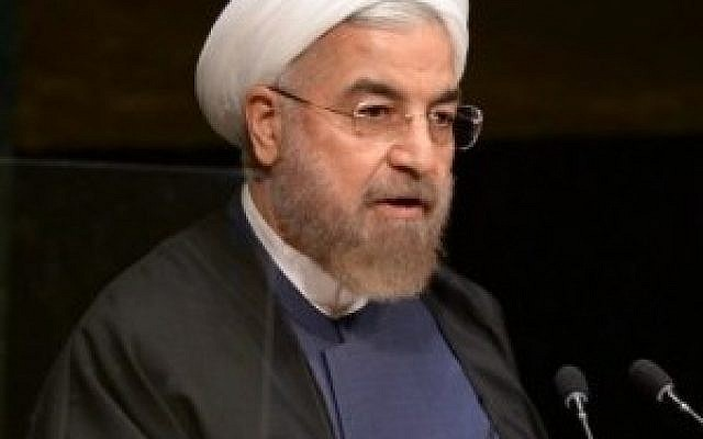 Iranian President Hassan Rouhani addresses the 69th session of the United Nations General Assembly September 25, 2014 (photo credit: AFP/Don Emmert)