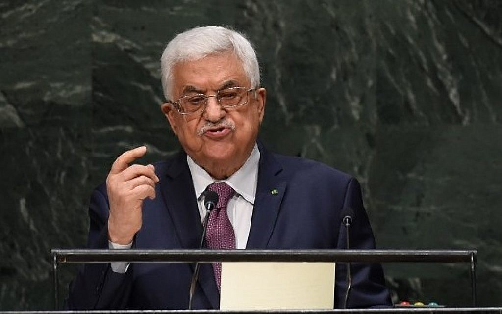 Palestinian Authority President Mahmoud Abbas addresses the 69th Session of the UN General Assembly on September 26, 2014, in New York. (photo credit: AFP/Timothy A. Clary)