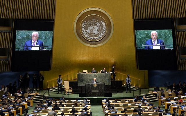 Palestinian Authority President Mahmoud Abbas addresses the 69th Session of the UN General Assembly in New York, on September 26, 2014. (photo credit: AFP/Timothy A. Clary)
