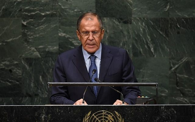 Sergey V. Lavrov, Minister for Foreign Affairs of Russia, speaks during the 69th Session of the UN General Assembly September 27, 2014 in New York. (photo credit: AFP/Timothy A. CLARY)