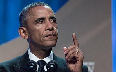 US President Barack Obama speaks at the Congressional Black Caucus Foundation's 44th Annual Legislative Conference Phoenix Awards Dinner in Washington on September 27, 2014 photo credit: AFP/Nicholas KAMM)