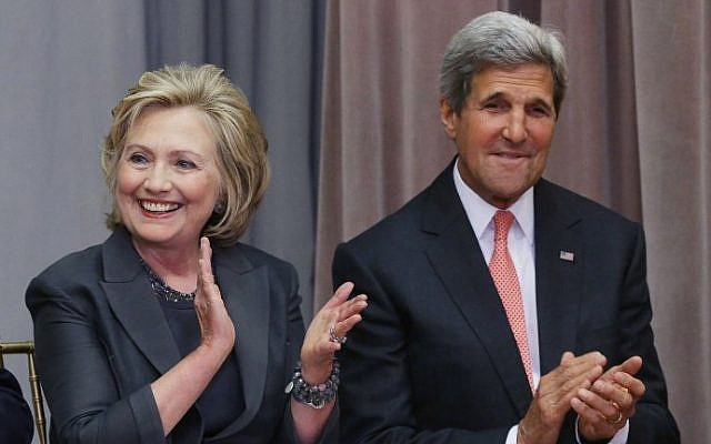Secretary of State John Kerry (R) is joined by former Secretary of State Hillary Clinton during the ceremonial groundbreaking for the future US Diplomacy Center at the State Department's Harry S. Truman Building September 3, 2014 in Washington, DC. (Chip Somodevilla/Getty Images/AFP)