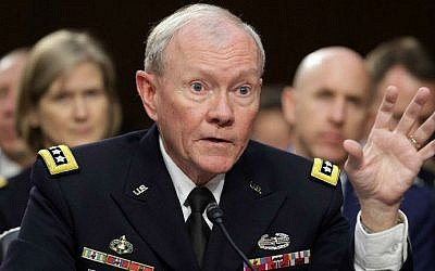 General Martin Dempsey testifies before the Senate Armed Services Committee on Capitol Hill, in Washington, DC, on September 16, 2014. (photo credit: AFP/Chip Somodevilla/Getty Images)