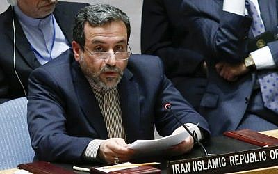 Iran's deputy foreign minister Abbas Araghchi addresses the United Nations Security Council during a meeting on Iraq on September 19, 2014 at UN headquarters in New York City. (Eduardo Munoz Alvarez/Getty Images/AFP)
