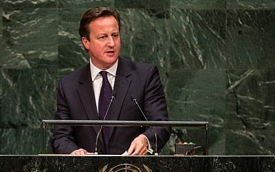 UK Prime Minister David Cameron speaks at the 69th United Nations General Assembly on September 24, 2014 in New York City (Andrew Burton/Getty Images/AFP)