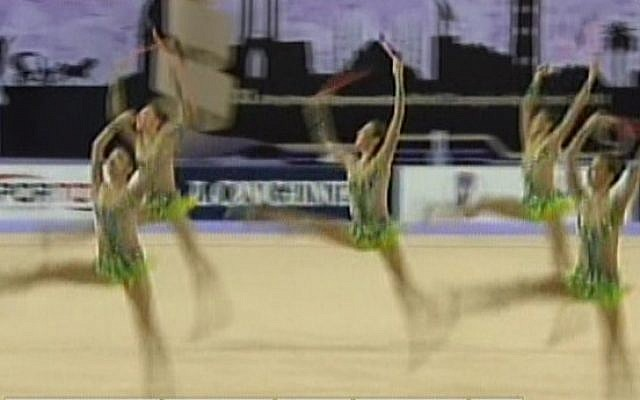 Israel's national rhythmic gymnastics team competes in Turkey, Sunday, September 28, 2014 (screen capture: Channel 2)