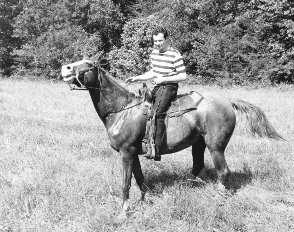 Brian Epstein horsing around at his 30th birthday party. (Ron Joy-Belle Schwartz Estate/JTA)