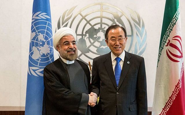 Iranian President Hassan Rouhani, left, meeting with UN Secretary General Ban Ki-moon on the sidelines of the U.N. General Assembly on Sept. 26, 2013. (Andrew Burton/Getty Images/JTA)