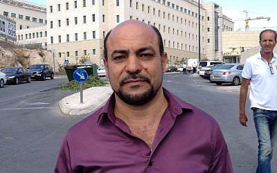 MK Masoud Ghanayem at the demonstration in Jerusalem photo credit: Elhanan Miller/Times of Israel)