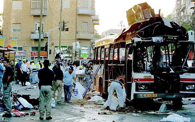 Hamas suicide bombing in Jerusalem on June 11, 2003, which killed 16 people. (Quique Kierszenbaum/Getty Images/JTA)