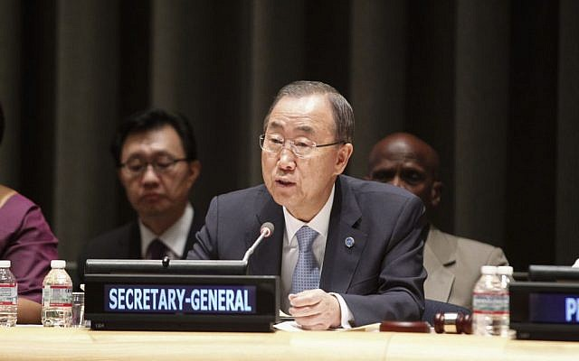 Ban Ki-moon speaking at a UN forum on September 9, 2014. (photo credit: UN/Loey Felipe)