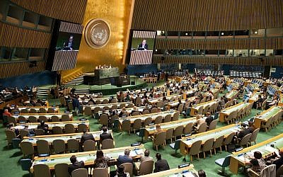 Illustrative photo of the UN General Assembly hall on September 22, 2014. (photo credit: Mark Garten/UN)