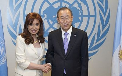 Argentinean President Cristina Fernández with United Nations Secretary-General Ban Ki-moon, at the UN in New York on September 22, 2014. (photo credit: UN Photo/Eskinder Debebe)