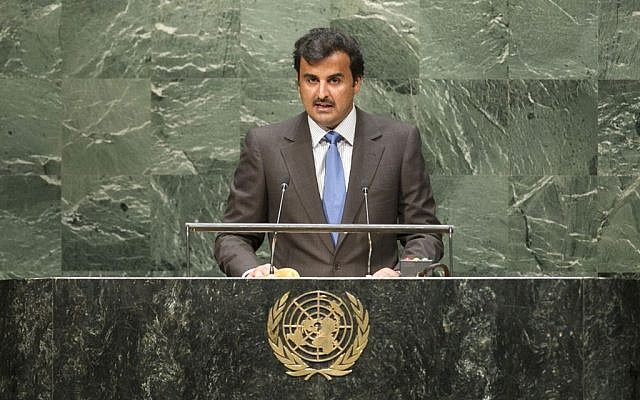 Sheikh Tamim bin Hamad Al Thani, emir of the State of Qatar, addresses the UN General Assembly on September 24, 2014. (photo credit: UN Photo by Cia Pak)