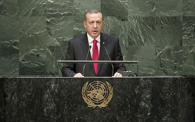 Turkish President Recep Tayyip Erdogan addresses the general debate of the 69th session of the UN General Assembly, September 24, 2014. (photo credit: UN/Cia Pak)