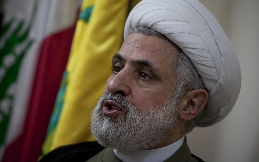 Hezbollah deputy secretary general Naim Qassem (photo credit: AP/Grace Kassab)
