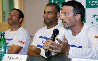Members of Israel's tennis team speak during a news conference on September 9, 2014 in Sunrise, FL (photo credit: Wilfredo Lee/AP)
