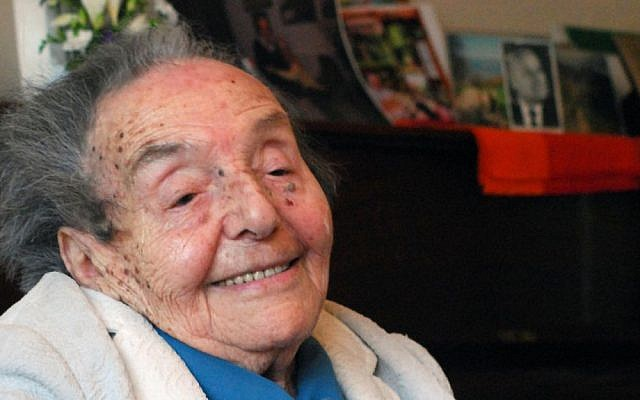 Alice Herz-Sommer, pictured here on her 107th birthday, was the subject of an Oscar-winning documentary. She died at 110. (Polly Hancock/JTA)