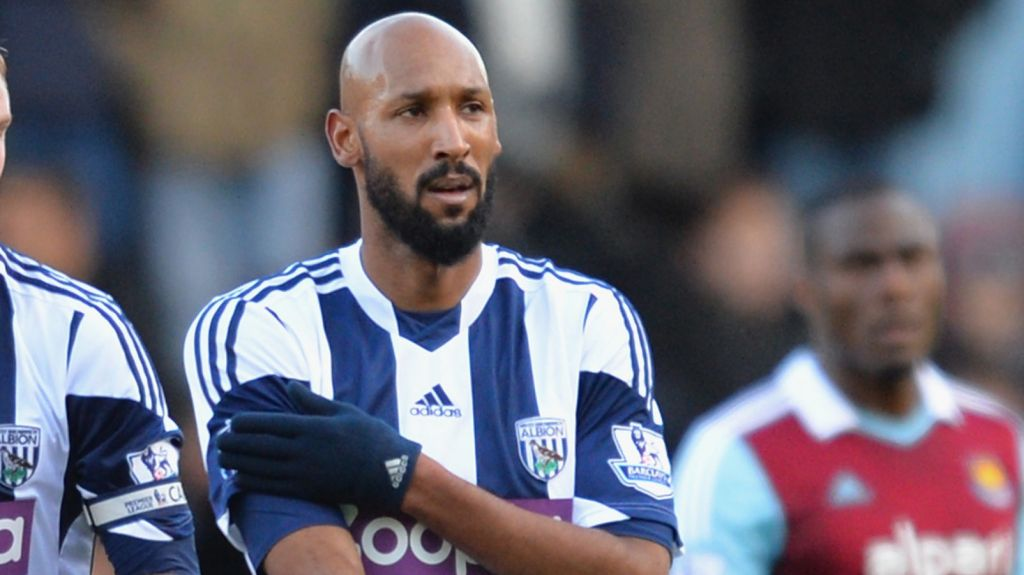 French soccer star Nicolas Anelka performing the quenelle, a gesture widely seen as anti-Semitic, after scoring a goal at a match in London, Dec. 28, 2013. (Christopher Lee/Getty Images/JTA)