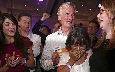 'No' supporter Joanna Baxter from Ayrshire (second from right), reacts to results in the Scottish independence referendum at the Marriott Hotel in Glasgow, Scotland, on Friday, September 19, 2014. (photo credit: AP/PA, Lynne Cameron)