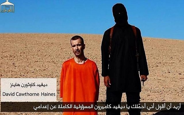 Screenshot from video ostensibly showing the beheading by Islamic State of David Haines in September 2014