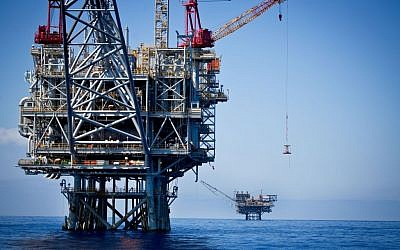 Gas rigs in the Tamar field, off the coast of Israel, in June 2014 (Moshe Shai/Flash90)