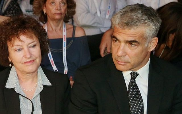 Governor of Bank of Israel Karnit Flug and Finance Minister Yair Lapid at an economy conference on September 2, 2014. (photo credit: Flash90)