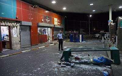 The damaged Jerusalem gas station after being attacked by rioters on September 7, 2014. (photo credit: Yonatan Sindel/Flash90)