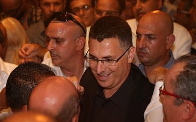 File: Then-interior minister Gideon Sa'ar at a press conference announcing he was resigning from the cabinet and Knesset and taking a break from politics, September 17, 2014. (Flash90)