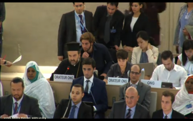 Father Gabriel Naddaf (third row, on the left) addresses the United Nations Human Rights Council. (photo credit: Screenshot)